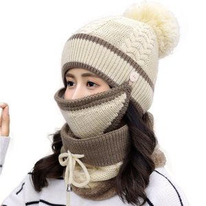 12 styles Knitted Hat + Scarf + Mask 3 piece suit Knitted Costume Cap Winter Soft Warm Girls Beanies more