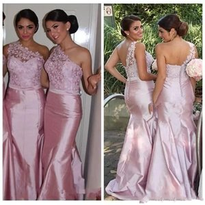 Sexy Pink Lace Mermaid Bridesmaid Dresses One Shoulder Taffeta Backless 2021 Long Custom Made Formal Evening Prom Gowns Maid of Honor Cheap