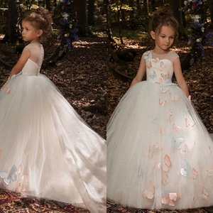 Butterfly Flower Girl Dresses 2020 Luxury Kids Evening Pageant Ball Gowns First Communion Dresses For Girls Vestidos dami