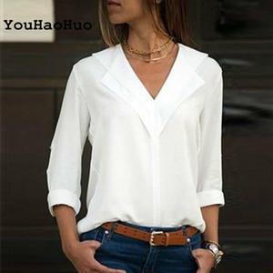 Женские блузки рубашки белая блузка с длинным рукавом двойной V-образным вырезом женские топы и твердая офисная рубашка леди Blusas Camisa