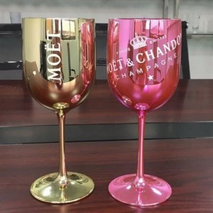 2pcs Wine Party Gold Champagne Coupes Cups Cocktail Goblet Electroplated Plastic Shoot Glass