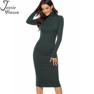 Jessie Vinson más el tamaño de manga larga de cuello alto de punto costilla Mediados mujeres se visten de otoño invierno 4XL 5XL suéter caliente vestido bodycon atractivo C1022