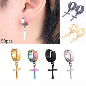 50pcs Classic Glossy Cross Earring Personality Wholesale Punk Titanium Stainless Steel Hoop Earrings with Cross for Men Women