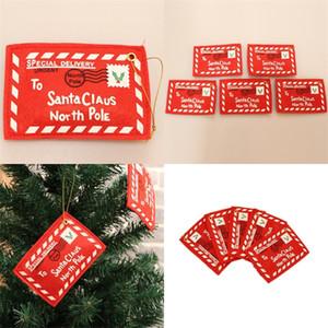 Outdoor de Natal Decor Árvore Pingentes celebração do casamento Gift Cards 2020 Envelopes ornamento quadrado vermelho de Papai Noel 0 8kc F2