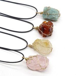 9 couleurs jolie nature pendentifs de pierre collier améthyste rose quartz blanc cristal blanc cristal de citron fluorite charmes pierre pour collier