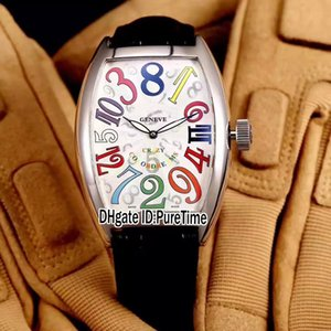 Crazy Hours 8880 CH COL DRM Steel Case Silver Dial Color Number Mark Automatic Mens Watch Black Leather Strap Watches Hight Quality A80a1