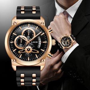 Lige neue klassische schwarze Herrenuhren Top-Marke Luxusuhr für Mann Military Silikon Wasserdichte Quarz Uhr Relogio Masculino LJ201202