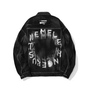 High Street lâche Retro Oversize Denim manteau hommes et femmes Ripped trou Lapel Lettre Imprimer Jeans Veste Hip Hop en vrac Casual Top