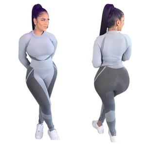 2020 Sports Women Gym Suit Fitness Set Woman Sport 2 Piece Sets Long Sleeve O Neck Tops Elasticity High Waist Long Pants Set