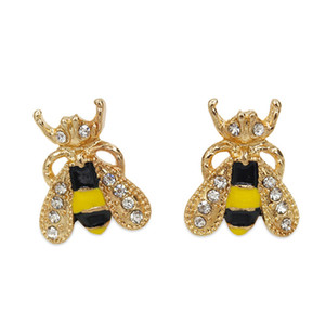 30pairs Lot Korean Sweet Bee Pattern Stud Earrings Colored Drop Oil Gold Ear Drop Women Animal Alloy Rhinestone Earring Fashion Jewelry