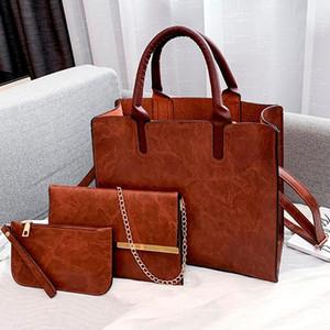 Leather Bag Set PU modo delle signore borsa di lusso di LANZHIXIN donne di colore solido Messenger Bag Shoulder Bags raccoglitore per le donne