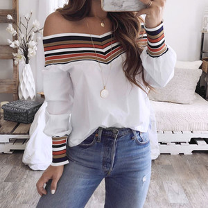 Women Autumn Casual Multicolor Long Sleeve Off Shoulder Top Blouse Off-the-shoulder printed knit panel shirt Casual T-shirt