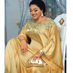 Fashion Embroidery 100% Gold Silk Traditional African Dashiki Long Maxi Dress Evening Robe Party Gowns New Aftican Arrivals1