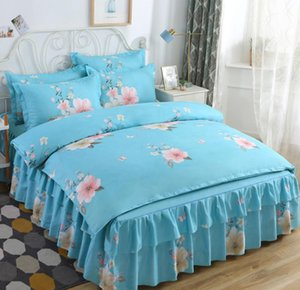 BBSET Duvet Cover Set 4PCS Classic Blue Bedding Set Korean Style Princess Wind Bed Skirt Double Needle Oversized Quilt Cover