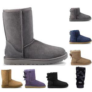 2020 Мода Мужчины Женщины Классический базовый Snow Boots Длинные голеностопного Короткий лук Fur пинетки для зимних черный каштан загрузки Повседневный платформы обувь 36-41
