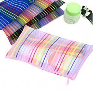 Naylon Net Kozmetik Çanta Şeffaf Renkli Çizgiler Desen Tuvalet Kılıfı Lady Makyaj Depolama Düzenleme Paketi Seyahat Taşınabilir Dayanıklı 0