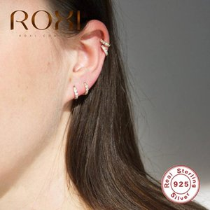 ROXI Simple Zircon Stone Round Hoop Earrings Trendy 925 Sterling Silver Earrings for Women Gold Silver Earing Jewelry Brincos