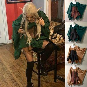 2020 Frauen Medieval Cosplay Kostüme Gothic Retro Langarm-Korsett-Kleid Halloween Elf Kleider