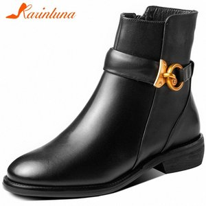 KARIN New Large Size 33 43 Ladies British Med Heel Boots Women Ankle Boots High Quality Genuine Leather Shoes Woman EcbV#