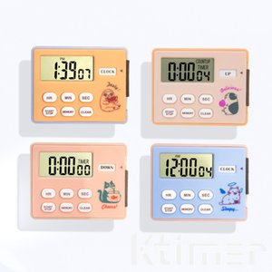 Ktimer 24 Hours Electronic Alarm Reminder Digital Timer Cute Cartoon Cooking Baking Timepiece Countdown Tool Magnetic Stand Four Color