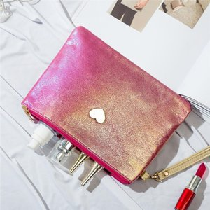 Cute Mini Solid Color Women Makeup Bag Laser PU Leather Lady Small Travel Bag Cosmetic For Travel Girls With Love