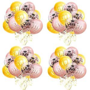 Латексной годовщины воздушный шар 10 16 18 30 50 Number +5 Confetti Balloons 15 шт. / Лот День рождения Вечеринка Свадебное Обращение Украшение Орнамент G12203