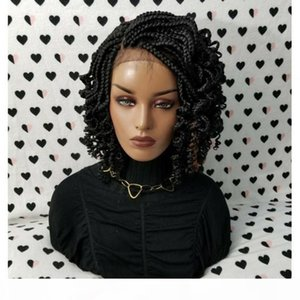 Dilys Lace Frontal Short Braids Wigs For Women Synthetic Lace Front Wig with Curly Tips Baby Hair