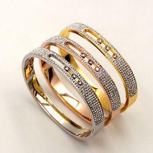 Stylish and beautiful full-diamond movable three-drilled clay drill titanium steel snap bracelet