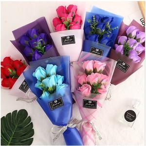 7 Rosa Rosa Simulación Flores San Valentín Día Manual de Día Artificial Flores Multi Color Pequeño Bouquet Regalos Embalaje Papel Cuerda 4 3JH L2