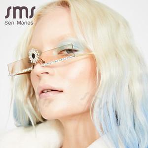 Sen Maries forme el pequeño diamante gafas de sol de cristal de las mujeres Flor Cristal de colores sin rebordes los vidrios de Sun para la hembra