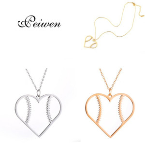 Fashion Baseball Heart Shape Pendant Necklace Stainless Steel Rose Gold Silver Color Chain For Women Men Jewelry Charm Choker