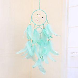 Sueño de luz LED Catcher Lámpara colgante LED pluma de DIY Craft del carillón de viento chica dormitorio romántico que cuelga la decoración del hogar de Navidad EEE2608 regalo
