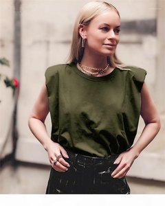 Loose Summer Tees 20ss New Women Casual Clothing Women Sleeveless Designer Tshirts Fashion Solid Color On Neck