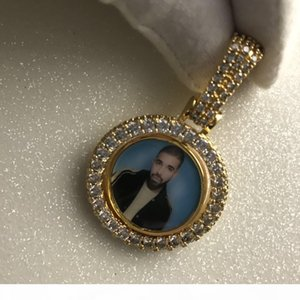 Custom two side Picture rotate pendant Hip hop custom personality Photo Pendant Whole sale picture pendant necklace