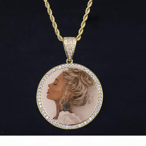 14k Gold Iced Out Custom Photo Pendant Picture Engrave Necklace lettering Mother's Day Special Gift