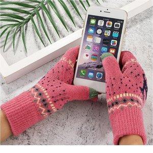 Mujeres Girls Invierno Mittens Touch Screen Gloves Fashion Korean Style Deer Impresión de lana tejida suave suave Finge Finge Jlllvt