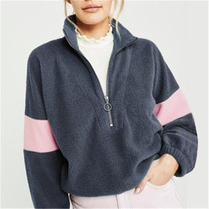 Zipper Patchwork Contrast Color Fashion Trend Crew Neck Cardigan Loose Famale Clothing Designer Casual Sweatshirt Women Long Sleeve Hoodies
