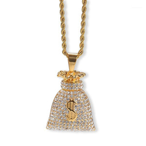 Hip Hop Full Rhinestones Bling Iced Out Gold Stainless Steel US Dollar Money Bag Pendants Necklace Men Rapper Jewelry $ Sign1