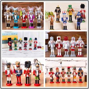 Legno bianco Schiaccianoci bambola Soldato Mini Figurine Handcraft DIY Puppet ornamenti Home Decor ragazzo giocattolo regalo di decorazione di Natale