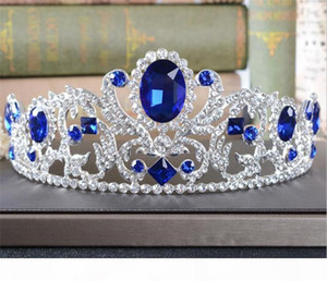Vintage Blue Crystal Crown Rhinestone Tiara Wedding Bridal Hair Accessories Headpiece Headband Jewelry Silver Prom Headdress Princess Queen