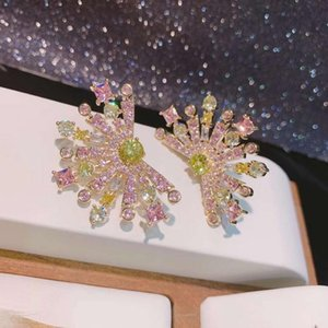 2021 Luxury Multicolor Flowers Design Full Cubic Zirconia Stud Earrings Party Bridal Engagement Earrings Jewelry E-554