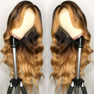Highlight Blonde Ombre Loose Body Wave Lace Front Human Hair Wigs For Black Women Brazilian Remy Baby Pre Plucked Silk Base Wig