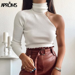 Aproms One Shoulder White Turtleneck Knitted Sweater Women High Street Long Sleeve Casual Pullover Female Spring Jumpers 201016