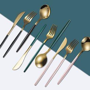 5 colores de acero inoxidable espejo vajilla dorado cuchillo comida cuchara tenedor té cuchara flotware simple exquisito occidental cena cubiertos ewb2499