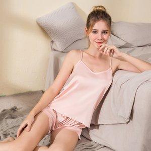 100% Natural silk off shoulder women tops halter top women satin sleep shorts sexy silk pyjamas women set sleepwear night suit Y0112