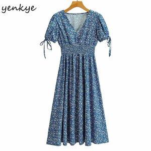 YENKYE старинные синие цветочные печать платье женщины с коротким рукавом V шеи Vestido Mujer эластичная талия A-Line MIDI праздник летнее платье