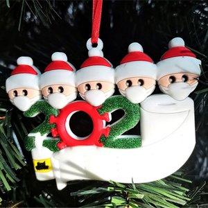 Sobrevivente árvore Pendant Natal da família de isolamento PVC Máscara do boneco de neve de suspensão Greetings Pingente DIY Nome decorações 3D KKA1555