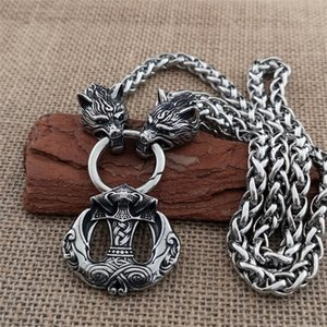 Nordic Raven Stainless pendant titanium steel wolf head domineering chain necklace Viking men jewelry Y200918