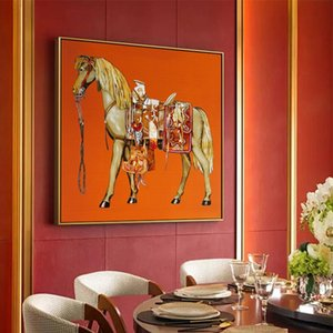 Saudi Classic Animal Wall Art Painting Abstract Horse Canvas Poster Print Luxury Wall Pictures for Living Room Modern Home Decor