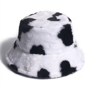 Winter Warm Bucket Hat Fluffy Plush Thick Fisherman Caps Fashion Cow Print Soft Autumn Sun Hat Female Basin Chapeau
